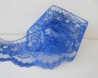 """Royal Blue Lace Trim Ribbon  3"""" inch wide Floral Lace Flower Design Baby Shower Sewing Lace Wedding Bridal Gift Wrap Gift Basket  WL001"""