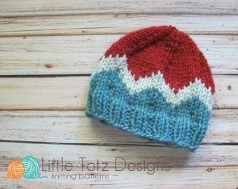 Chevron Stripe  Beanie Knitting Pattern - Newborn