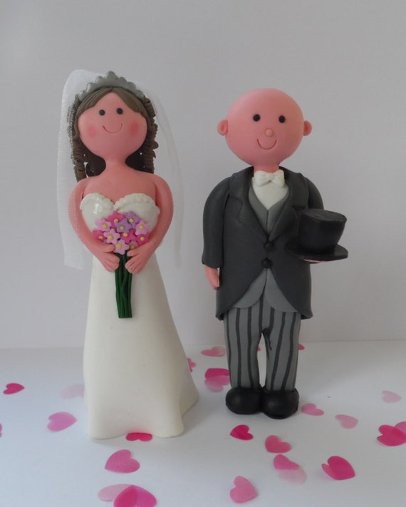 Brunette Bride And Bald Groom Cake Topper