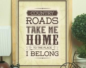 Take Me Home, Country Roads - 16x20 Printable Poster - Song Lyrics