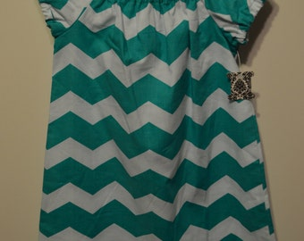 Turquoise Chevron Peasant Dress Girls Size 4T