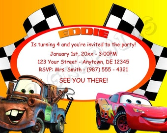 Cars Birthday Invitation - Printable