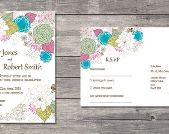 Printable outline flowers wedding invitation and RSVP