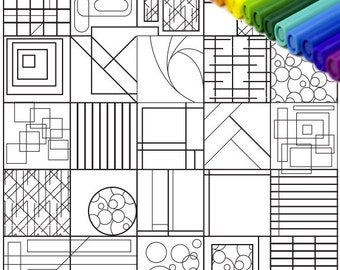 Printable Coloring Page, Abstract Coloring Page, Geometric Coloring Page, Detailed Coloring Page, Adult Coloring Page, 8x8, PDF, Activity