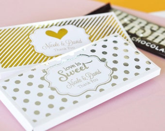 24 Personalized Metallic Foil Candy Wrapper Covers for Weddings