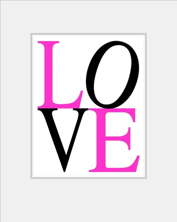 teen wall art hot pink kids wall art love art print love