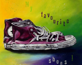 SALE 20%  now 462,-USD large abstract painting, chucks, shoes, young, modern,red shoes, lime