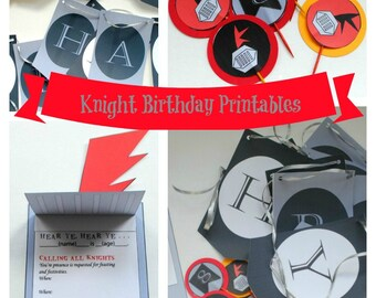 Medieval Knight Birthday Party- Printable PDF file- Instant Download- Birthday Banner, Cupcake Toppers, Food Labels, Invitation