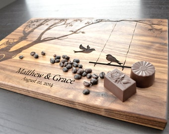 Personalized Cutting Board Wedding Gift Custom Housewarming Gift Anniversary Gift, Engraved Wood Chopping Block, Hostess Gift Carved Tree