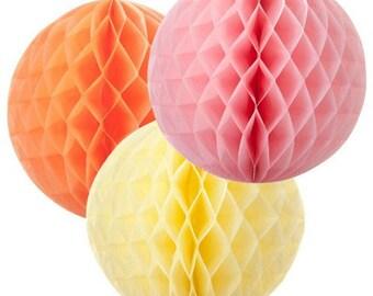 tissue paper pom pom HONEYCOMB BALLS party birthday wedding  decoration hanging ball nursery pom poms  set
