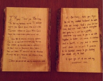 Wedding Vows Personalized Wood Burned Plaque