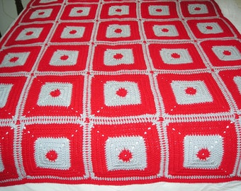 New Handmade Crochet afghan throw Ohio colors granny square deluxe #3 Sale Price Reduced