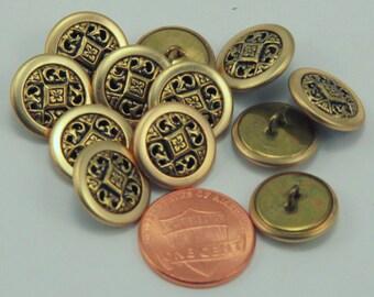 "Lot of 12 Brass Tone Metal Shank Buttons 9/16"" 14.5mm (#6279)"