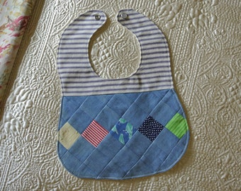 Chambray and Ticking Patchwork Bib for Baby Boy