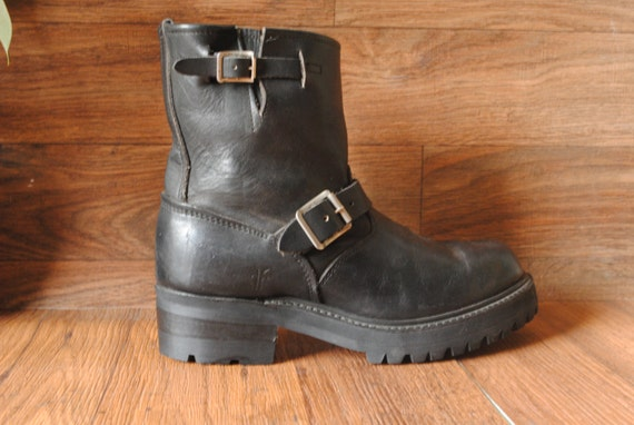 90s Rare FRYE Goth / Biker Black Leather THICK Vibram Sole