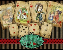 Vintage grunge Alice in Wonderland old paper playing cards card full deck printable gift cheshire cat tea unbirthday party scrapbooking PCA2