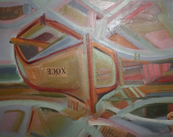 European 1985 expressionist oil painting collage