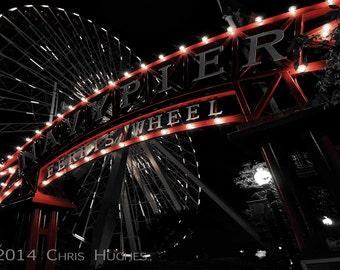 Ferris Wheel Photography, Night Photography, Boardwalk Photography,Navy Pier