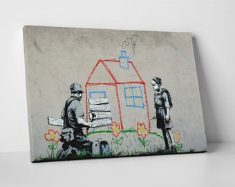 Evicted by Banksy Gallery Wrapped Canvas Print. BONUS! BANKSY DECAL!