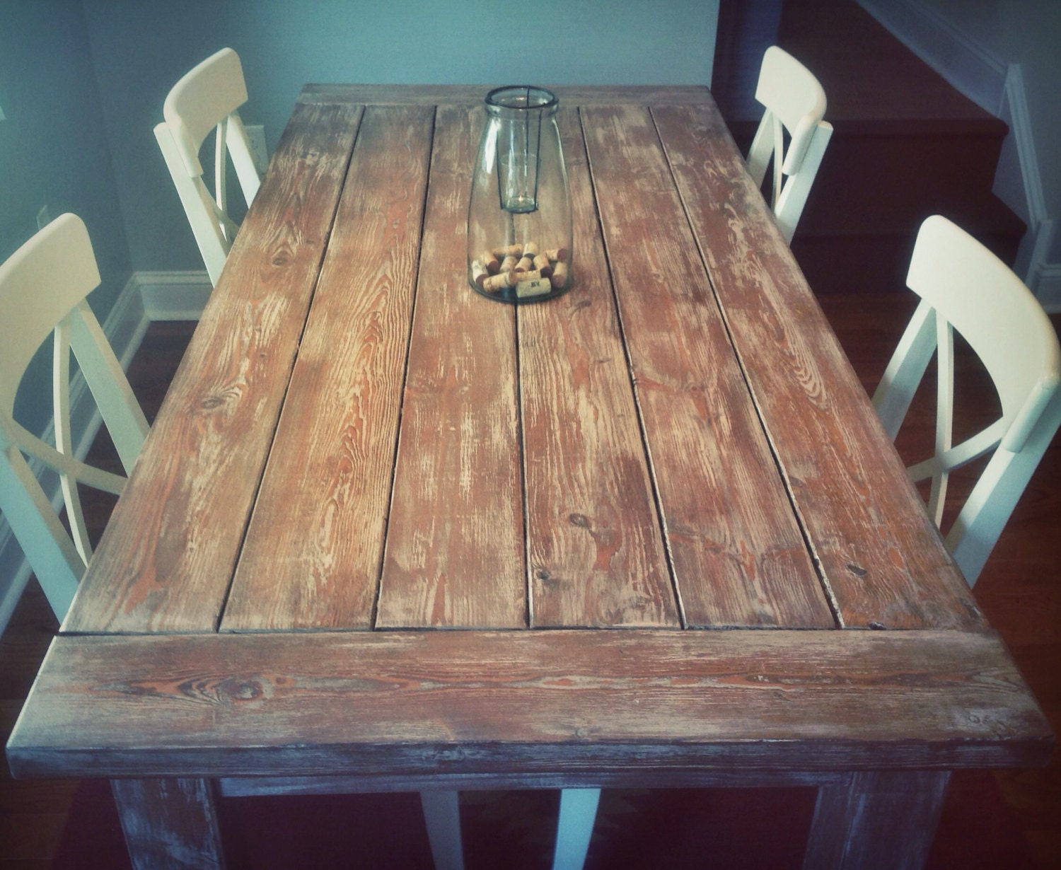 Weathered rustic farmhouse style dining table for Dining tables rustic farmhouse