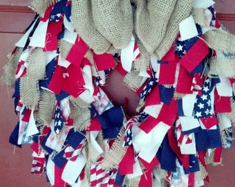 Patriotic, Fourth of July, Everyday,  Red, White, and Blue, Rag Wreath