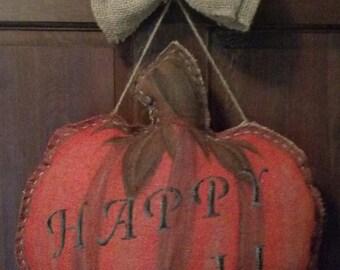 Hand Sewn Rustic Fall  Pumpkin Burlap Door Hanger