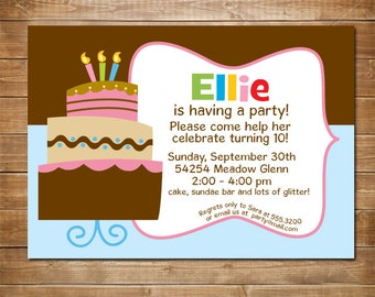 Girl Birthday Party Invitation, Birthday Cake Party, Kids Party Invites, Rainbow Cake, Printable, DIY, Personalized Invitations