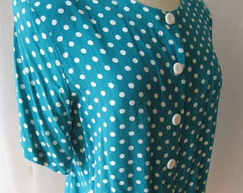 Vintage Polka Dot Blouse; 80s blouse; Turquoise and white polka dot top; 80s cropped blouse; vintage 80s blouse; vintage summer blouse