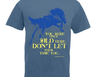 Horse shirt. Unisex wild horse t shirts for men, women, boy, girl. Inspirational quote tee. Steel blue tshirt gift for horse lover or dancer
