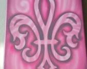 Fleur de Lis Airbrush painting on Canvas 8x10