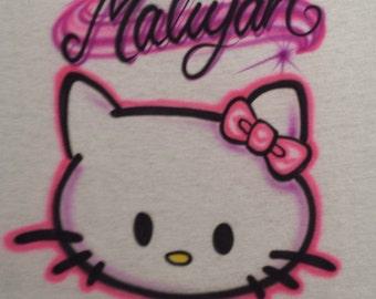 Custom Airbrush Kitty T Shirt Freehand, not a stencil, Hello Kitty, Hello Kitty shirt