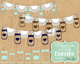 Shabby Chic, Digital, Hanging Mason Jars, Doily Bunting,Lace, Banner, Elements, Embellishments, Digital Clipart, Scrapbook, PNG