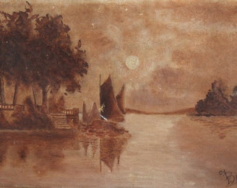 Antique XIX oil painting landscape lake view signed