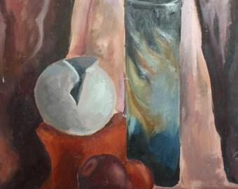 Vintage still life impressionist oil painting
