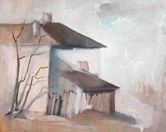 Vintage oil painting house landscape