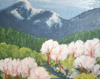 Bulgarian impressionism mountain trees oil painting landscape