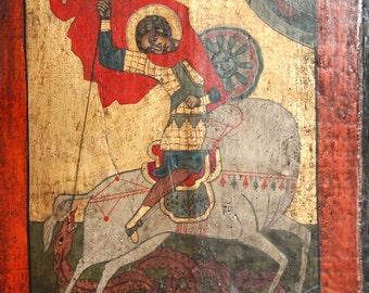 Saint George Vintage Hand Painted Orthodox Icon
