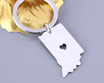 I heart Indiana keychain - Indiana keyring - State Charm - Map keychain - Map Jewelry