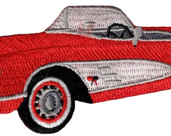 Red CORVETTE CONVERTIBLE PATCH iron-on embroidered car automobile Chevy emblem applique