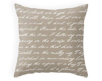 Daffodils poem by W. Wordsworth throw pillow handwriting mute colours taupe cushion taupe throw pillow typography cushion daffodil