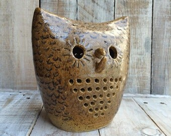 Owl Decor - Brown Owl Figurines - Owl Gifts - Owl Stuff - Ceramic Owl Figurine - owl decoration - barn owl decorations - Tawny Owl Candle