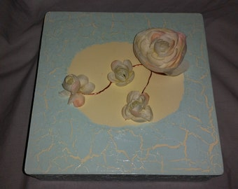 Aged blue stationary box w/flowers