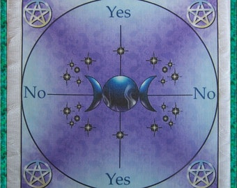 Triple Moon Scrying Mat, Dowsing wiccan Magic Divination.