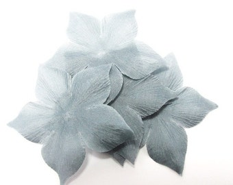 Size 55 mm grey shaped flowers of silk pongee 5