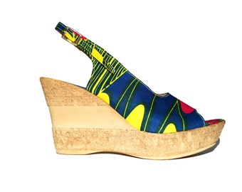 Multi colored ankara wedge with pink, yellow and blue accents.