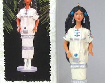 1996 Hallmark Native American Barbie Keepsake Ornament 1st in Series Dolls of the World #1 Vintage Christmas