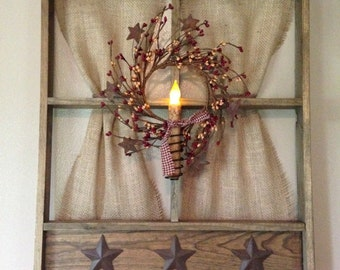 Tobacco Wood Window with Candle & Berries - Burgundy/Gold