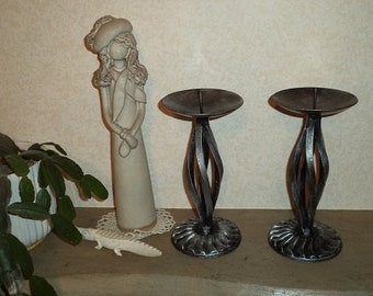 Pair of handmade bespoke distressed silver finish wrought iron candle holders/sticks
