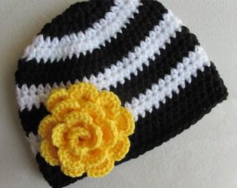 Pittsburgh Steelers Baby Girl Child Adult Women's Crochet Hat Beanie