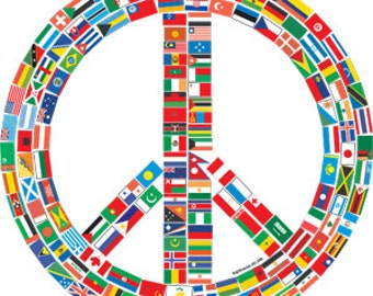 Peace Flag Tshirt with Flags of World